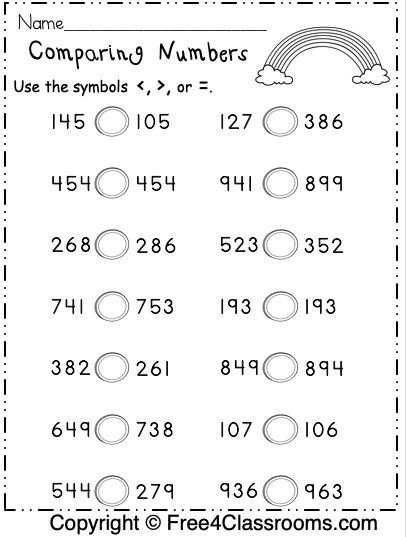 free comparing numbers worksheets