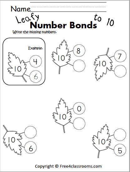 free math number bonds worksheets