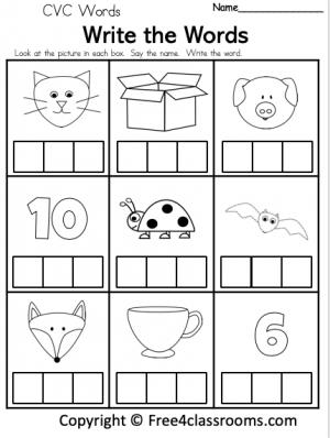Free CVC Word Worksheet Free4Classrooms