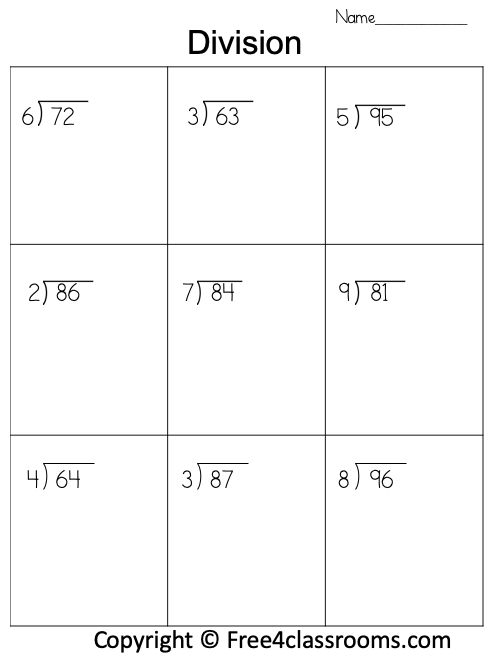 Free Division 2 Digit by 1 Worksheet
