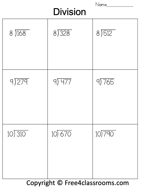 Free Division 3 Digit by 1 Digit Worksheet 1