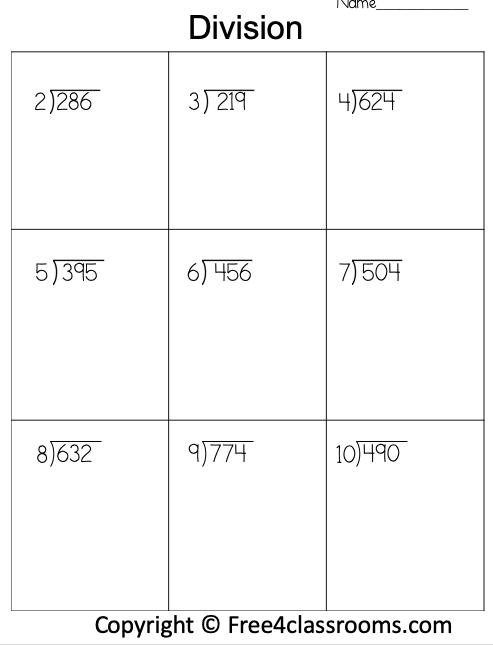 Free Division 3 Digit by 1 Digit Worksheet 2