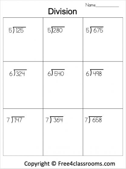 Free Division 3 Digit by 1 Digit Worksheet