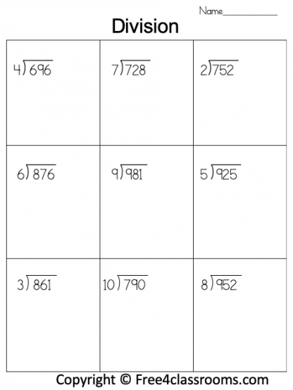 Free Division 3 Digit by 1 Worksheet