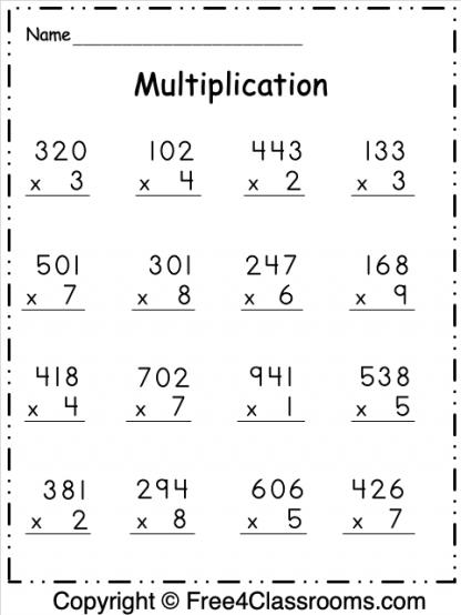 Free Multiplication 3 Digit Worksheet