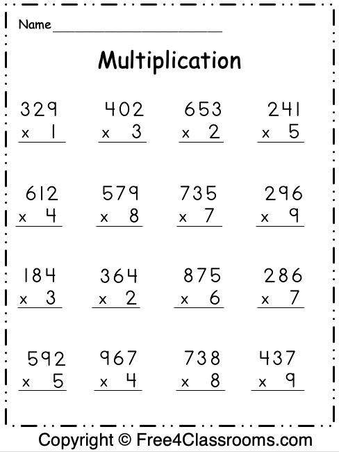 Free Multiplication 3 Digit by 1 Worksheet