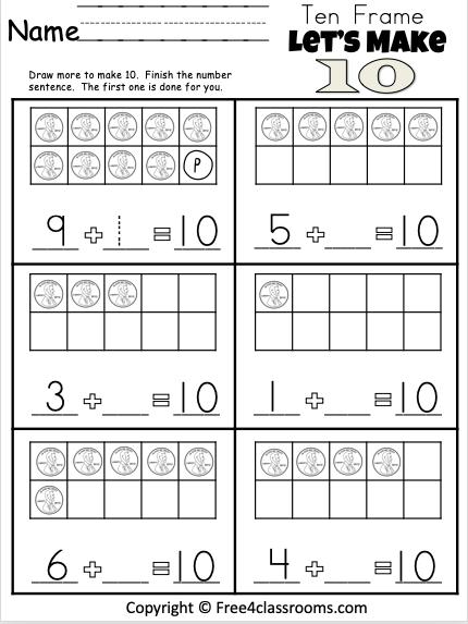 Free Kindergarten 10 Frame Addition - Worksheet - Free4Classrooms