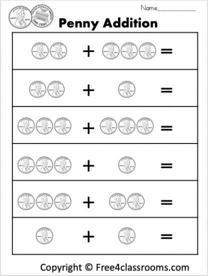 Free Penny Addition Worksheet Free4classrooms