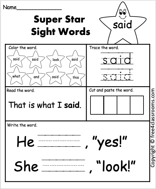 Free Sight Word Worksheet Said Free4Classrooms
