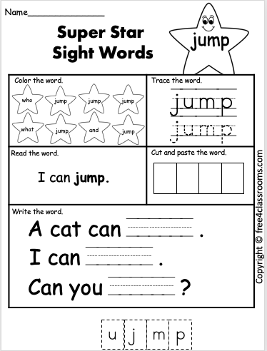 Free Sight Word Worksheets jump Free4Classrooms