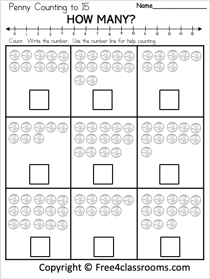 Free Penny Counting Worksheet - Numbers To 15 - Free4Classrooms