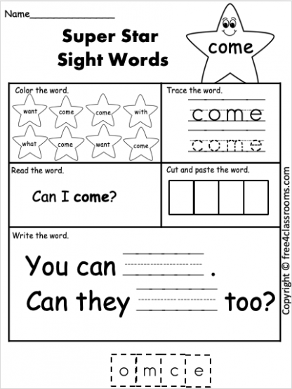 free high frequency word worksheets come free4classrooms