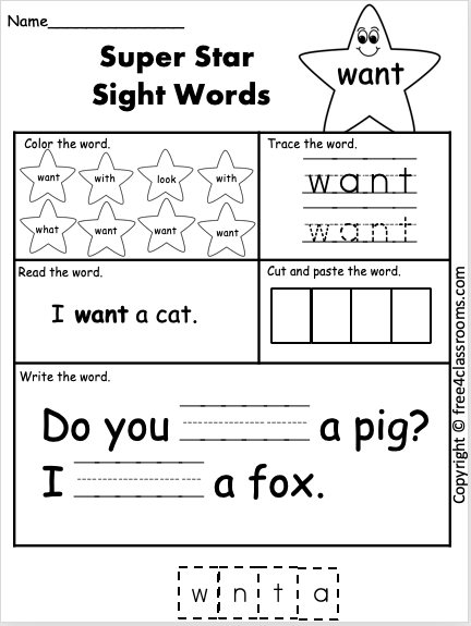 Free Sight Word Worksheet Want Free4classrooms - 45+ Words Worksheets Kindergarten Sight Words Pdf Free Pictures