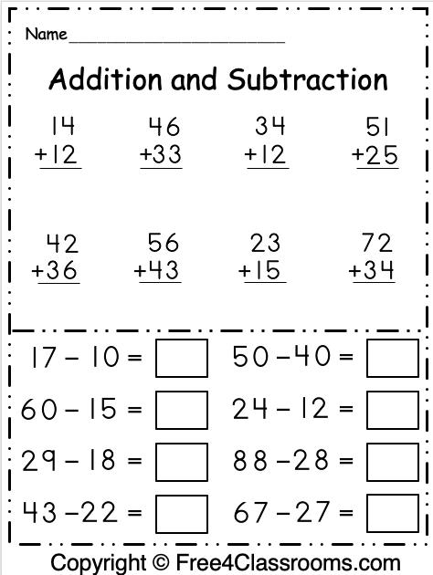 Free 1st Grade Addition And Subtraction 2 Digit Math Worksheet -  Free4Classrooms
