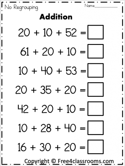 Free 2 Digit Addition Worksheet Free4classrooms