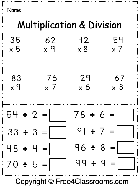 Free 3rd Grade Multiplication and Division Math Worksheet 1