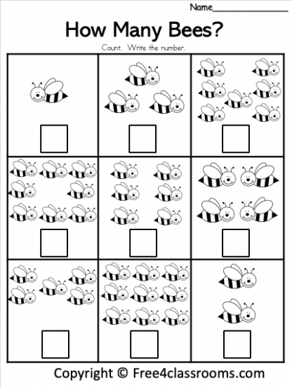 Free How Many Bees Math Worksheets Free4Classrooms