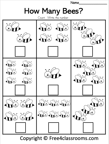 Free Kinder Math - Counting Worksheets - Numbers To 6 - Free4Classrooms