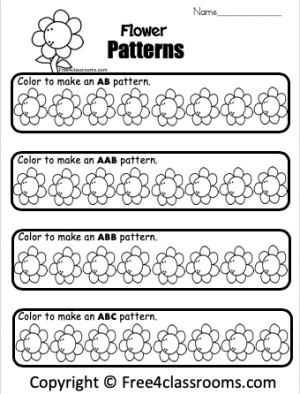 Free Kindergarten Math Patterns Worksheets Color Flowers Free4Classrooms