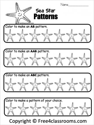 Free Kindergarten And Preschool Math Patterns Worksheets Color The Flowers Free4classrooms