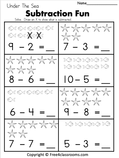 Free Kindergarten Subtraction Math Worksheets Free4Classrooms