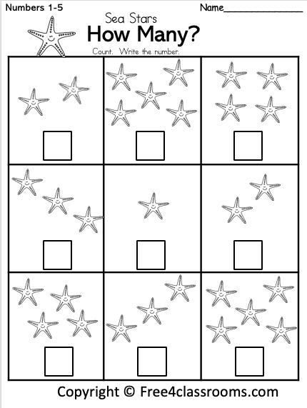 Free Kindergarten Math Worksheet - Sea Star Number Counting -  Free4Classrooms