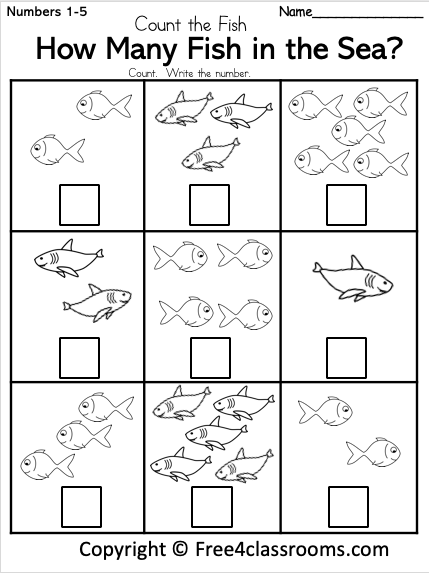 Free Kindergarten Math Worksheet - How Many Fish Number Counting -  Free4Classrooms