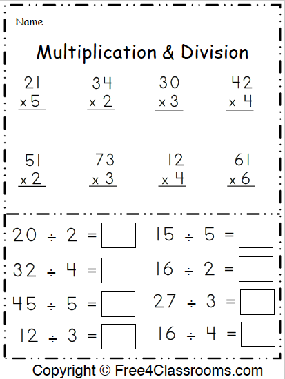 Free 3rd Grade Math Multiplication And Division Worksheet - Free4Classrooms