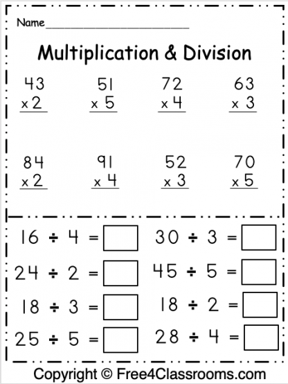 Free Multiplication and Division 1 Digit Worksheet 1
