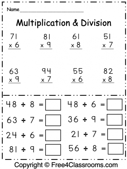Free Multiplication and Division 1 Digit Worksheet 3