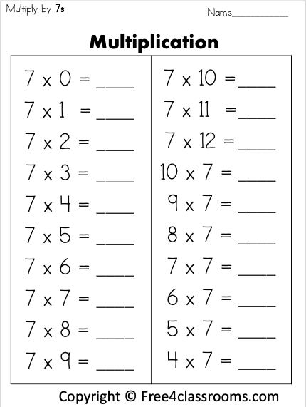 Free Multiplication by 7s Worksheet Free4Classrooms