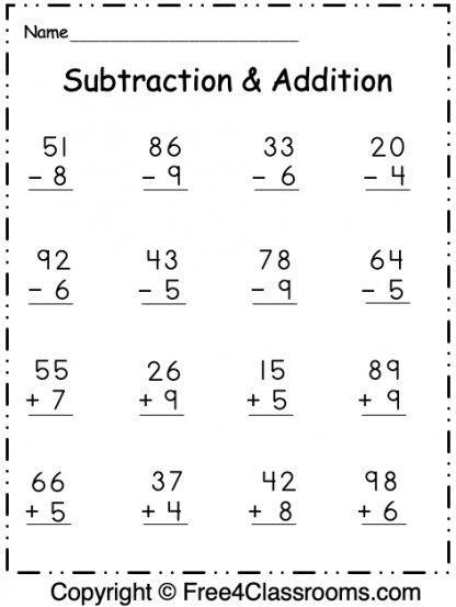 Free Regrouping 2 Digit Subtraction and Addition 1