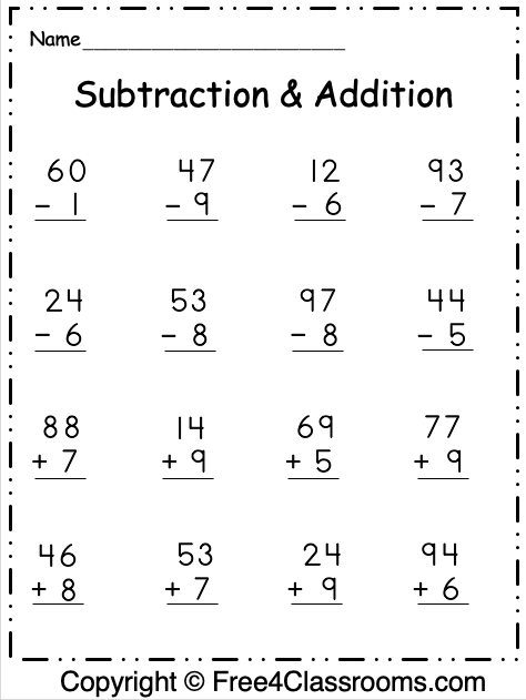 Free Regrouping 2 Digit Subtraction and Addition 2