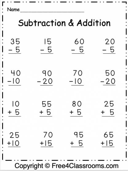 Free Regrouping 2 Digit Subtraction and Addition 3
