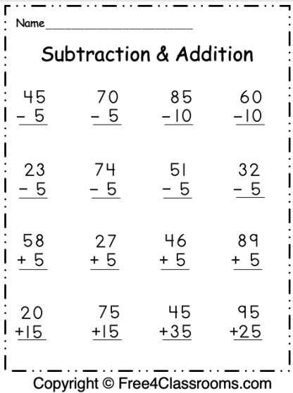 Free Regrouping 2 Digit Subtraction and Addition 4