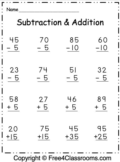 Free 1st Grade Math Subtraction and Addition Worksheets ...