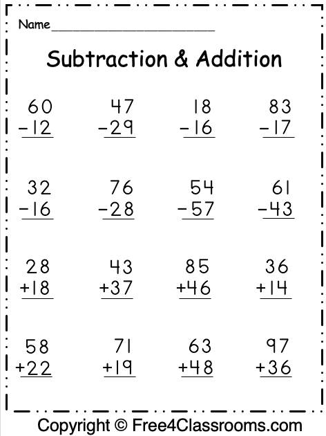 Free Regrouping 2 Digit Subtraction and Addition 6