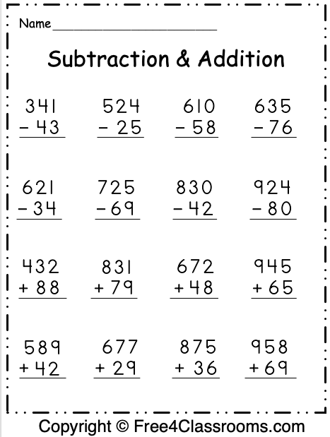Free Regrouping Subtraction and Addition Worksheet 1