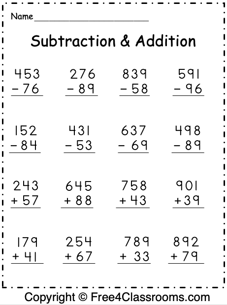 Free Regrouping Subtraction and Addition Worksheet 3