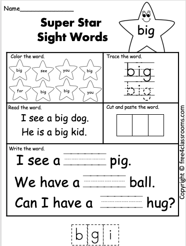 Free Sight Word Worksheet big free4classrooms