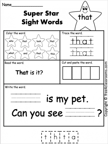 Free Sight Word Worksheets that Free4classrooms