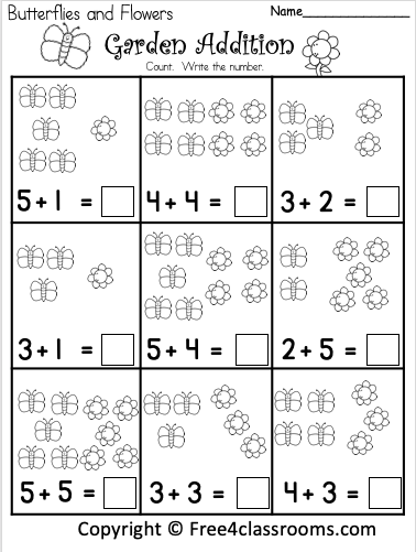 Free Spring Picture Addition Worksheets Free4Classrooms