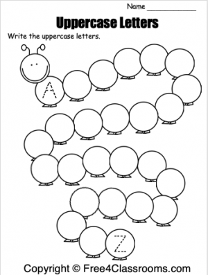 Free Spring Uppercase Letter Writing Worksheets