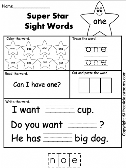 free sight word worksheet one free4classrooms