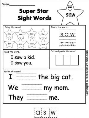 free sight word worksheet saw free4classrooms