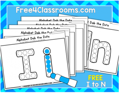 Free Alphabet Dot Marker Worksheets Letters I to N Free4classrooms