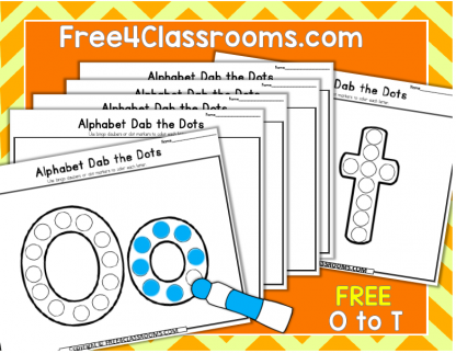Free Alphabet Dot Marker Worksheets Letters O to T Free4classrooms