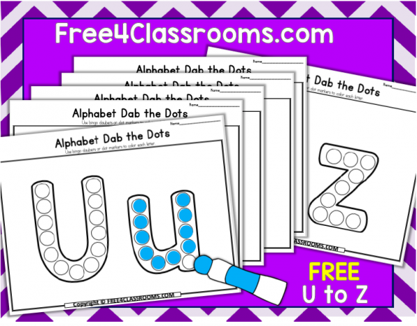 Free Alphabet Dot Marker Worksheets Letters U to Z Free4classrooms