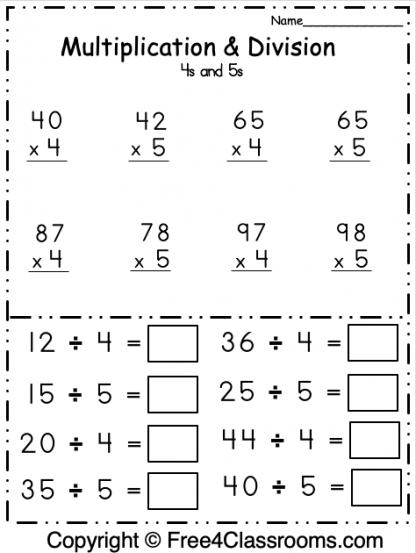 Free Multiplication and Division 2 Digit Math Worksheet 2