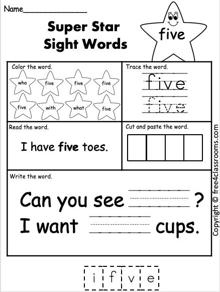 Free Kindergarten Sight Word Worksheet - (five) - Free4Classrooms